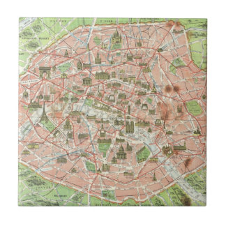 Vintage Map of Paris (1920) Tile