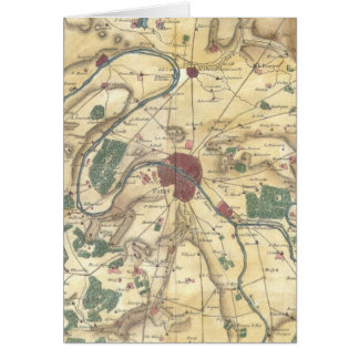 Vintage Map of Paris and Surrounding Areas (1780) Card
