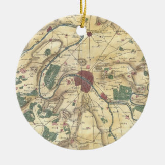 Vintage Map of Paris and Surrounding Areas (1780) Ceramic Ornament