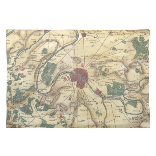Vintage Map of Paris and Surrounding Areas (1780) Cloth Placemat