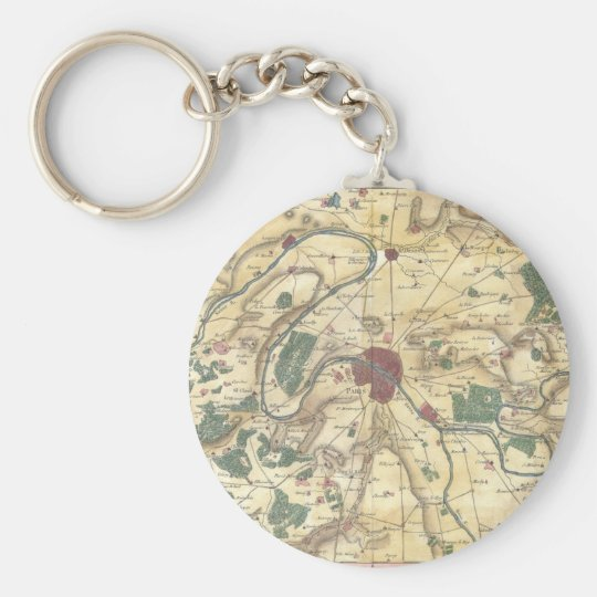 Vintage Map of Paris and Surrounding Areas (1780) Keychain