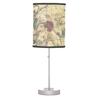 Vintage Map of Paris and Surrounding Areas (1780) Table Lamp