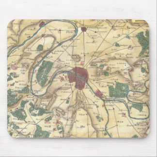 Vintage Map of Paris and Surrounding Areas (1780) Mouse Pad