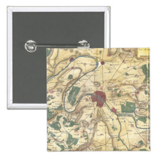 Vintage Map of Paris and Surrounding Areas (1780) Pinback Button