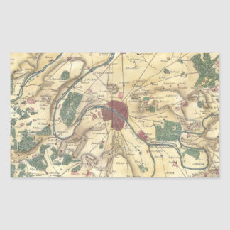 Vintage Map of Paris and Surrounding Areas (1780) Rectangular Sticker