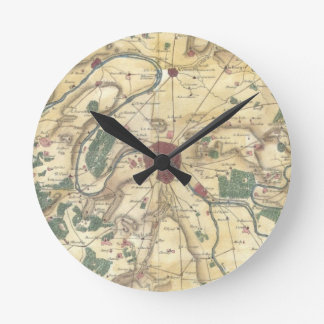 Vintage Map of Paris and Surrounding Areas (1780) Round Clock