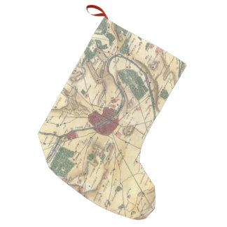 Vintage Map of Paris and Surrounding Areas (1780) Small Christmas Stocking