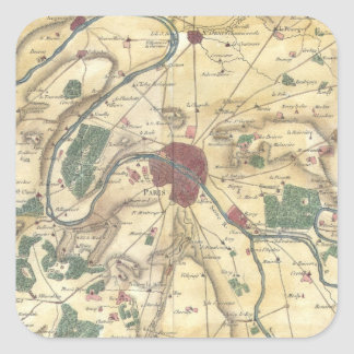 Vintage Map of Paris and Surrounding Areas (1780) Square Sticker