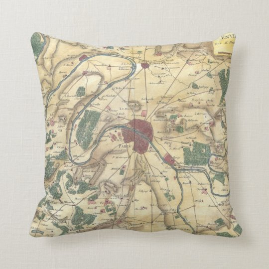 Vintage Map of Paris and Surrounding Areas (1780) Throw Pillow