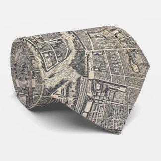 Vintage Map of Paris France (1652) Neck Tie