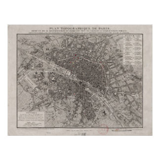 Vintage Map of Paris France (1837) Poster