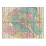 Vintage Map of Paris France (1867) Postcards