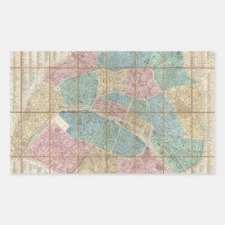 Vintage Map of Paris France (1867) Rectangular Sticker