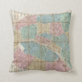 Vintage Map of Paris France (1867) Throw Pillow