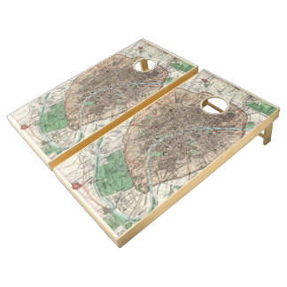 Vintage Map of Paris France (1872) Cornhole Set