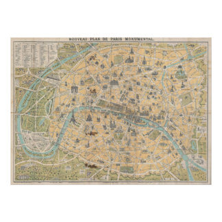 Vintage Map of Paris France (1890) Poster