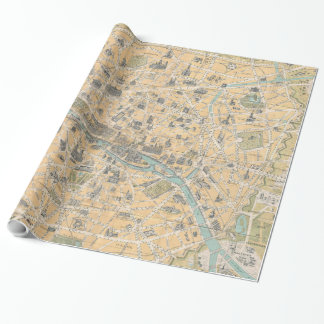 Vintage Map of Paris France (1890) Wrapping Paper