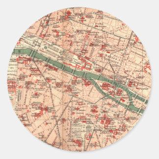 Vintage Map of Paris France (1910) Classic Round Sticker