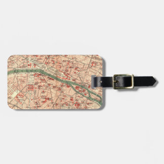 Vintage Map of Paris France (1910) Luggage Tag