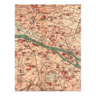 Vintage Map of Paris France (1910) Postcard