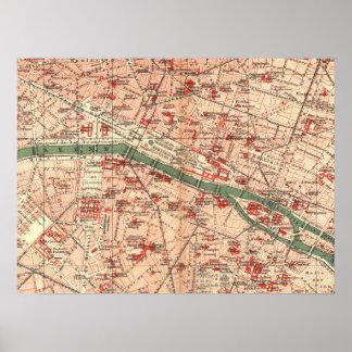 Vintage Map of Paris France (1910) Print