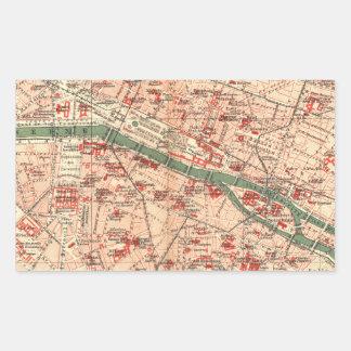 Vintage Map of Paris France (1910) Rectangular Sticker