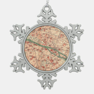 Vintage Map of Paris France (1910) Snowflake Pewter Christmas Ornament