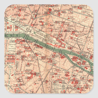 Vintage Map of Paris France (1910) Square Sticker