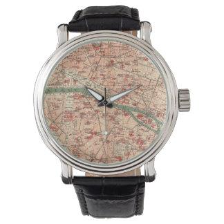 Vintage Map of Paris France (1910) Wristwatches
