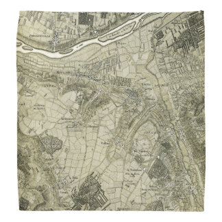Vintage Map of Paris, France Bandana