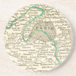 Vintage Map of PARIS FRANCE Coaster Beermat