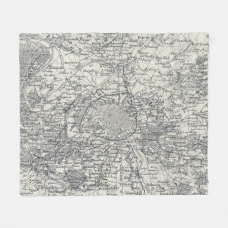 Vintage Map of Paris France Vicinity (1841) Fleece Blanket