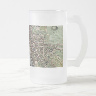 Vintage Map of Paris Frosted Glass Beer Mug
