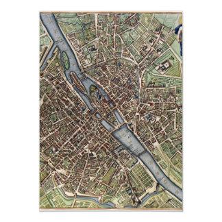 Vintage Map of Paris Personalized Invitation