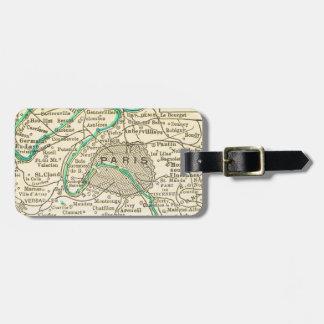 Vintage Map of PARIS Luggage Tag