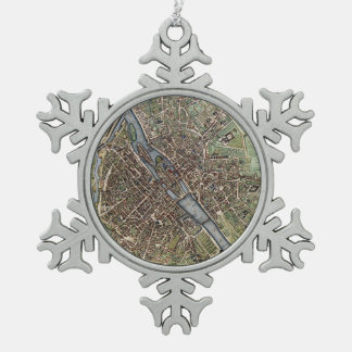 Vintage Map of Paris Snowflake Pewter Christmas Ornament