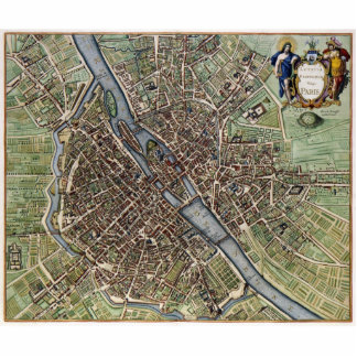 Vintage Map of Paris Statuette