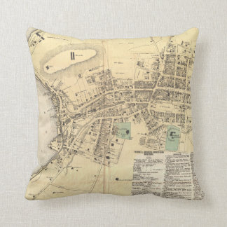 Vintage Map of Peekskill New York (1867) Throw Pillow