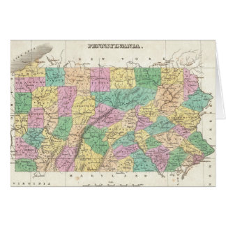 Vintage Map of Pennsylvania 1827 Greeting Cards