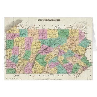 Vintage Map of Pennsylvania (1827) Card