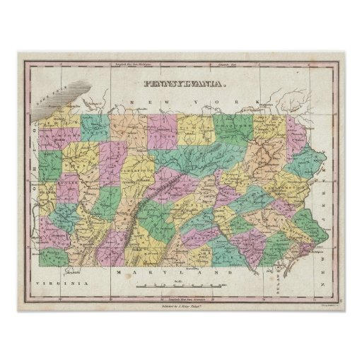 Vintage Map of Pennsylvania (1827) Poster