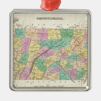 Vintage Map of Pennsylvania (1827) Square Metal Christmas Ornament