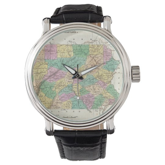 Vintage Map of Pennsylvania (1827) Wrist Watch