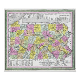 Vintage Map of Pennsylvania (1850) Poster