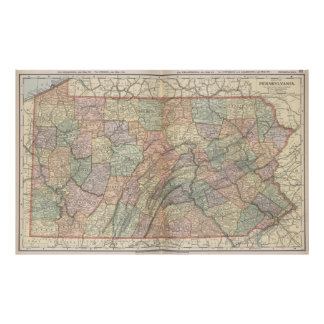 Vintage Map of Pennsylvania (1891) Poster
