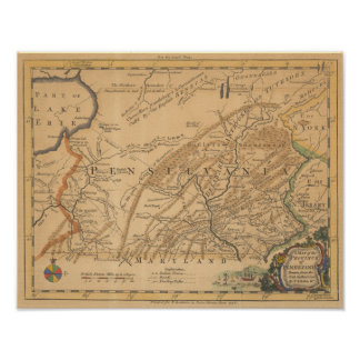 Vintage map of Pennsylvania Poster