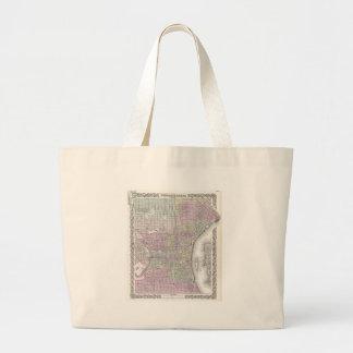 Vintage Map of Philadelphia (1855) Large Tote Bag