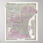 Vintage Map of Philadelphia (1855) Posters