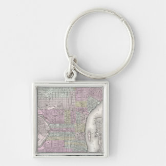 Vintage Map of Philadelphia (1855) Silver-Colored Square Keychain