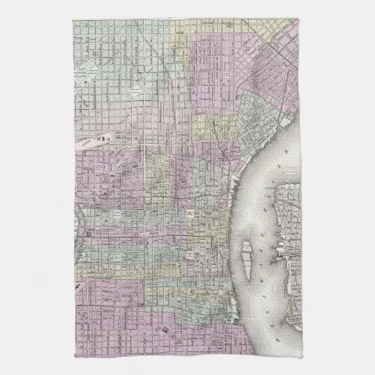 Vintage Map of Philadelphia (1855) Towel